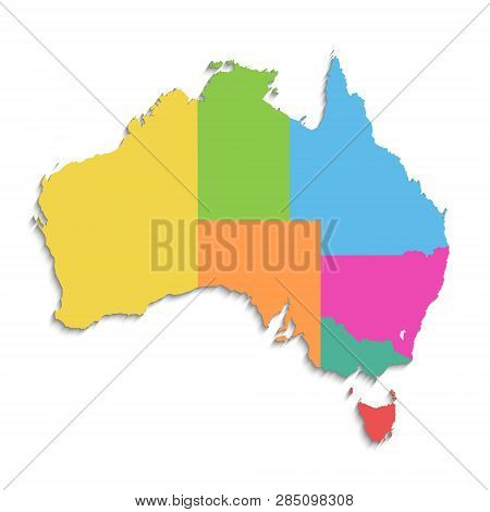 Australia Map, New Political Detailed Map, Separate Individual States, With State Names, Isolated On