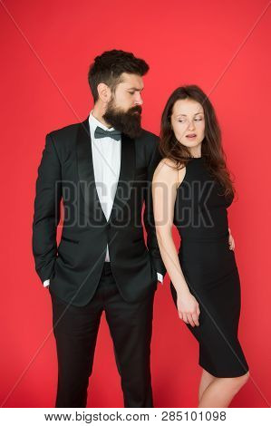 Man Bearded Wear Tuxedo Girl Elegant Dress. Visiting Event Or Ceremony. Couple Classy Clothes. Elite