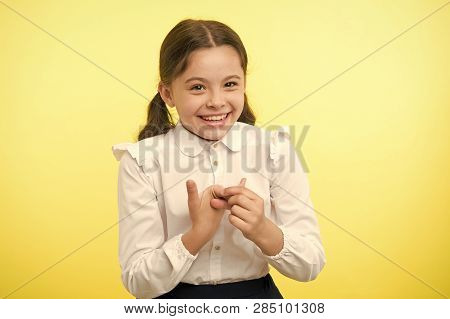 Happy Child. Happy Child In School Uniform. Happy Child On Yellow Background. Fashion And Beauty Of