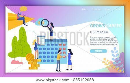 Career Development Flat Vector Web Banner. Businesspeople Searching Job Opportunities, Communicating
