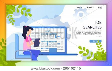Searching Job Online Service Flat Vector Web Banner With Female Job Applicant Filling Resume, Human