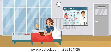 Cardiology Hospital Ward Flat Vector Illustration. Cartoon Color Character. Inpatient Treatment Conc