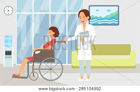 Inpatient Treatment In Hospital Flat Illustration. Health Worker And Patient Cartoon Color Character