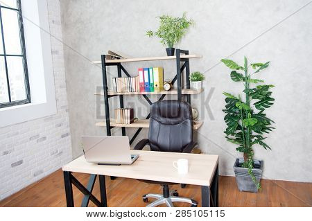 Boss Office. Interior Of Empty Modern Office. Business And Workplace. Clean Interior Of A Corporate