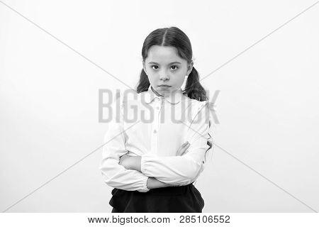 Confident Schoolgirl. Confident And Carefree Schoolgirl. Small Schoolgirl With Confident Look. Confi