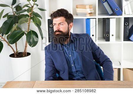 Confident Brutal Man Director. Businessman In Formal Suit. Man. Bearded Man. Mature Hipster With Bea