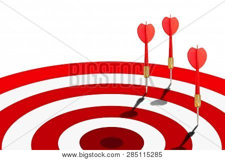 Many Red Darts Missed Hit Target On Dartboard Isolated On White Background.