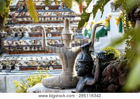 Sculpture In A Buddhist Temple In Bangkok Thailand, Culture And History Of Southeast Asia, Travel