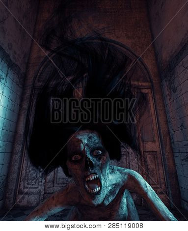 Undead's House,ghost Woman Who Will Never Go Anywhere Else But Her Home.3D Illustration