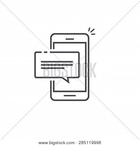 Mobile Phone Chat Message Notification Vector Icon Isolated Line Outline, Smartphone Bubble Speech P