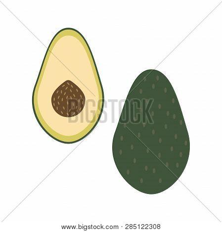 Whole Avocado And A Half. Raw Fresh Food Vector Illustration.
