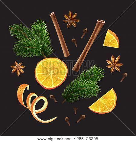 Large Set Of Spices, Orange, Fir Branches On Black Background. Vector Illustration. Different Group