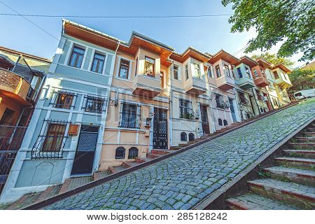 Istanbul, Turkey: Popular Street With Cascade Houses And Landmark Of Balat District On October 27, 2