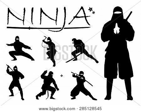 Set Of Ninja Silhouette Vector Illustration, Ninja Weapon Silhouette. Ninja Japanese Warrior Silhoue