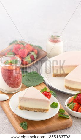 Delicious And Nutritious Handmade Strawberry No Bake Frozen Gradient Colour Fromage Frais Cheesecake