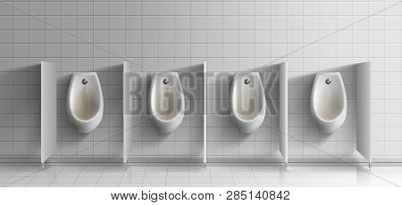 Mens Public Toilet Room Realistic Vector. Row Of Dirty, Rusty Ceramic Urinals With Metal Flushing Bu