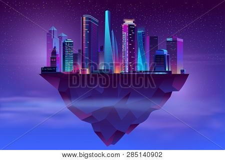 Vector Modern Megapolis On Soaring Island. Bright Glowing Buildings At Night In Cartoon Style. Urban