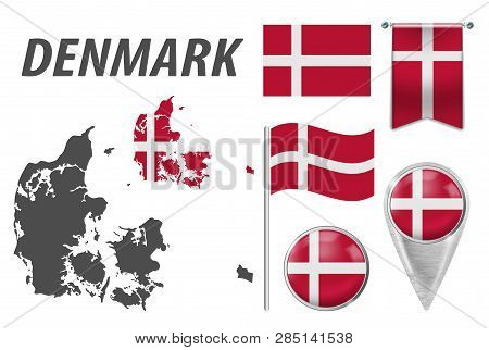 Denmark. Collection Of Symbols In Colors National Flag On Various Objects Isolated On White Backgrou