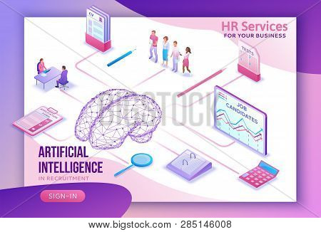 Human Resources With Artificial Intelligence, Hr Recruiting Agency Website Ui Ux Template With 3d Em