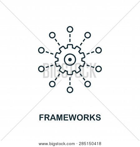 Frameworks Outline Icon. Thin Line Style From Big Data Icons Collection. Pixel Perfect Simple Elemen