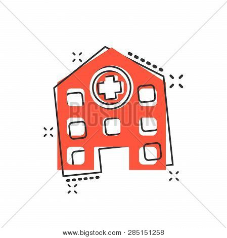 Vector Cartoon Hospital Building Icon In Comic Style. Infirmary Medical Clinic Sign Illustration Pic