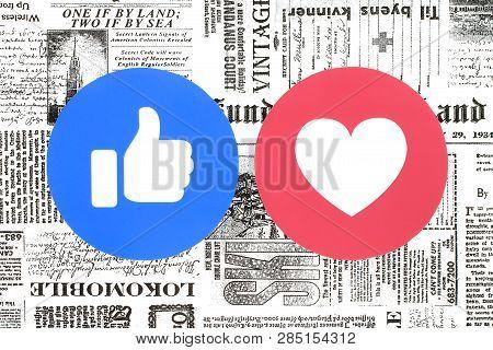 Kiev, Ukraine - November 28, 2018: Facebook Like And Love Buttons Of Empathetic Emoji Reactions Prin