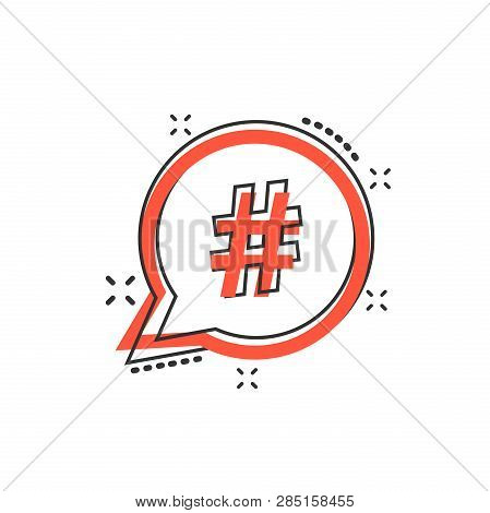 Vector Cartoon Hashtag Icon In Comic Style. Social Media Marketing Concept Illustration Pictogram. H