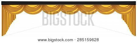 Yellow Luxury Curtains And Draperies On White Background