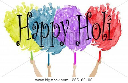 Happy Holi Vector Watercolour, Great Design For Any Purposes. Vector Festive Illustration. Style Wat