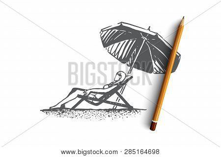 Beach, Girl, Summer, Umbrella, Sunbathe Concept. Hand Drawn Young Girl On The Beach Sunbathes Under