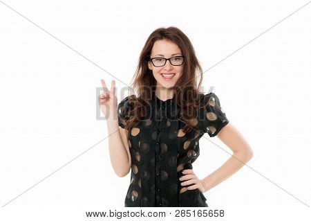 Peaceful Lady. Business Lady Smart Office Manager. Girl Wear Formal Clothes White Background. Female