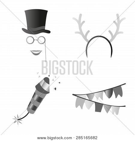Vector Illustration Of Party And Birthday Icon. Collection Of Party And Celebration Stock Symbol For