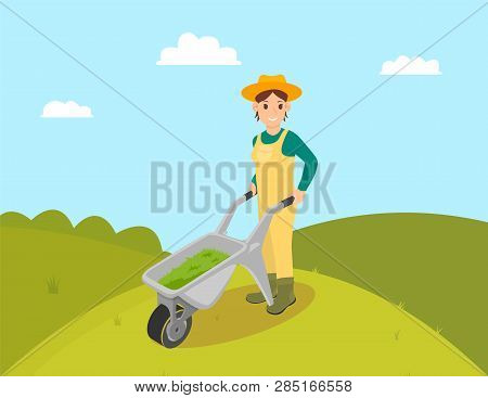 Farmer With Compost In Trolley Vector. Farming Woman Wearing Uniform And Hat. Fertilizing Ground, La