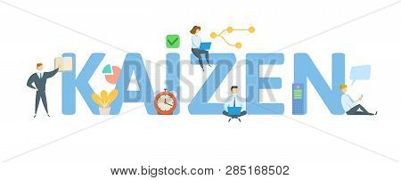 Kaizen. Concept With People, Letters And Icons. Flat Vector Illustration. Isolated On White Backgrou