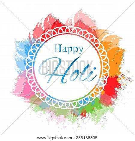 Happy Holi Vector Elements For Card Design , Happy Holi Design. Illustration Of Abstract Colorful Ha