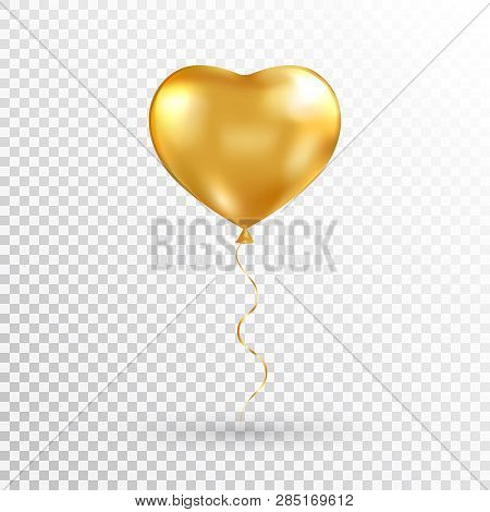 Gold Heart Balloon On Transparent Background. Foil Air Balloon For Party, Christmas, Birthday, Valen