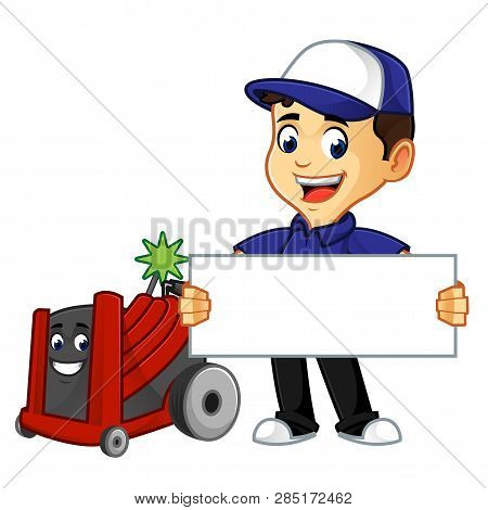 Hvac Cleaner Or Technician With Rotobrush Hold Sign