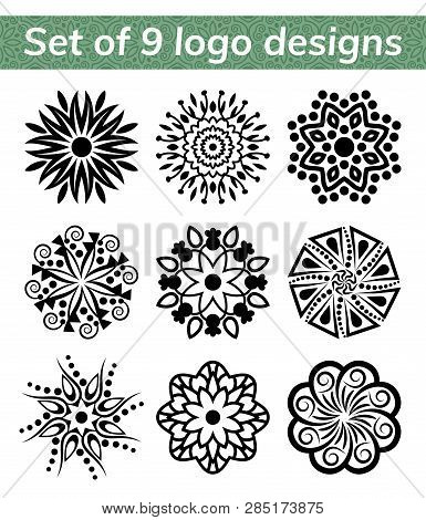 Logo templates for spa and yoga center. Mandala set. Indian antistress medallion. Collection of relax symbols. Abstract henna flower icon. Vector stock illustration poster