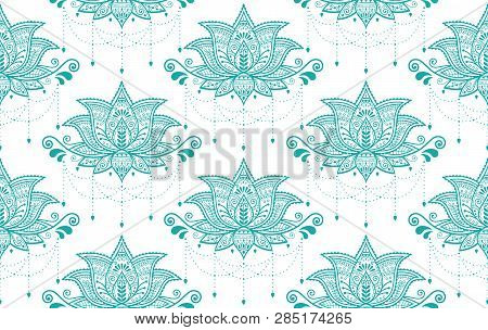Indian Lotus Flower Vector Seamless Pattern, Mehndi Henna Tattoo Style, Yoga Or Zen Decoration, Bohe