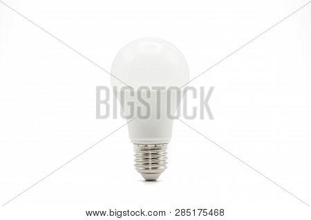 Close Up Led White Light Bulb Isolated On White Background. Clipping Path -image.