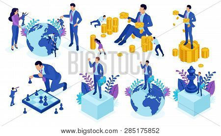 Set Template Design, Isometric Concept Successful Teamwork, Investment In Startups, Business, Time H
