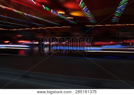 Synthwave Disco Lights Night Colors Of The Amusement Park Lights Moving, Light Trails, Slow Shutter-