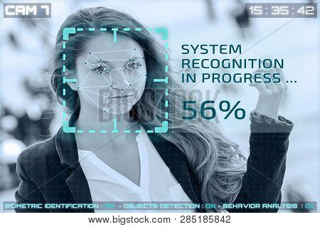 Simulation Of A Screen Of Cctv Cameras With Facial Recognition. Facial Recognition Of A Woman In A S