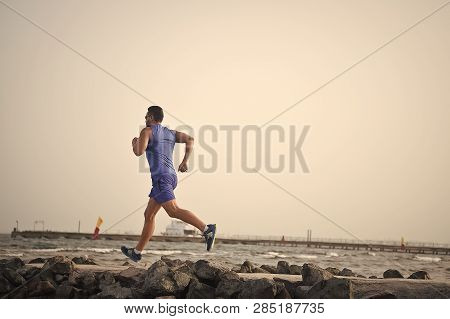 Run To Success. Success In Sport Of Man Run. Out For A Run. Full Of Energy. Success Run Of Sportsman