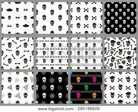 Seamless Patterns Set With Skulls. Vector Illustration