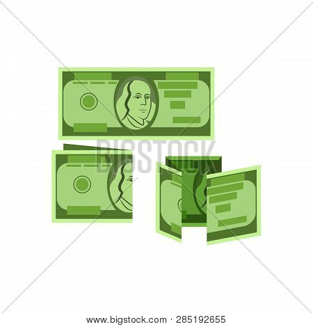 Example Of Folding Banknotes Vector. Crumpled Money, Folding Instructions, Money Origami. Money Conc