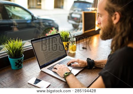 Man Freelance Social Media Content Writer Keyboarding On Contemporary Laptop Computer During Recreat