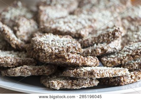 Vegan Cookies From Wheat And Raisins On Plate