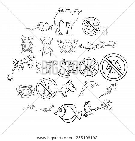 Proud Animal Icons Set. Outline Set Of 25 Proud Animal Vector Icons For Web Isolated On White Backgr