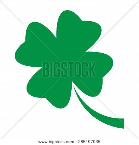 Shamrock - Green Four Leaf Clover Icon. Good Luck Theme Design Element. Simple Geometrical Shape Vec